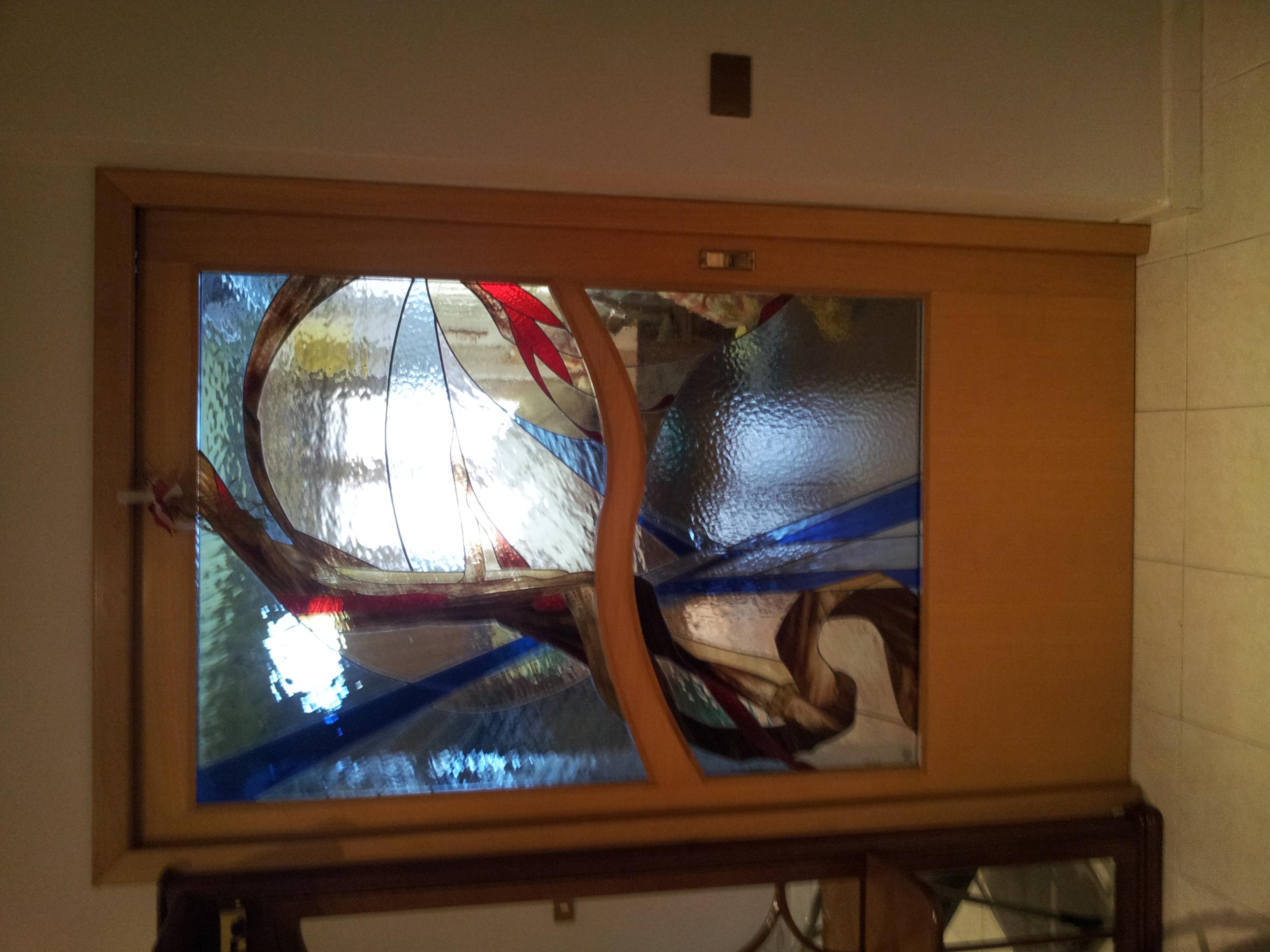 Porta in noce con cattedrale piombato porte per interni for Arredamenti a sora