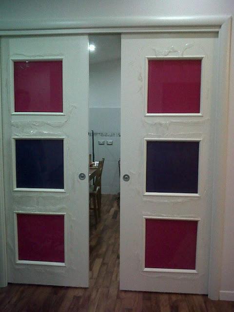 Porta in legno scorrevole a due ante in laminato bianco - Porta bianca laminato ...